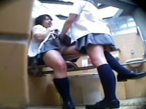 【盗撮レズ動画】駅の公衆便所で女子校生のビアンカップルがクンニし合う姿を隠し撮り